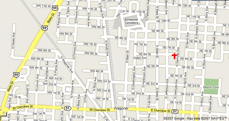 Map to get to Immanuel Southern Baptist Church.